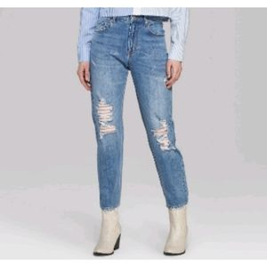 High Rise Waisted Medium Blue Wash Mom Jeans